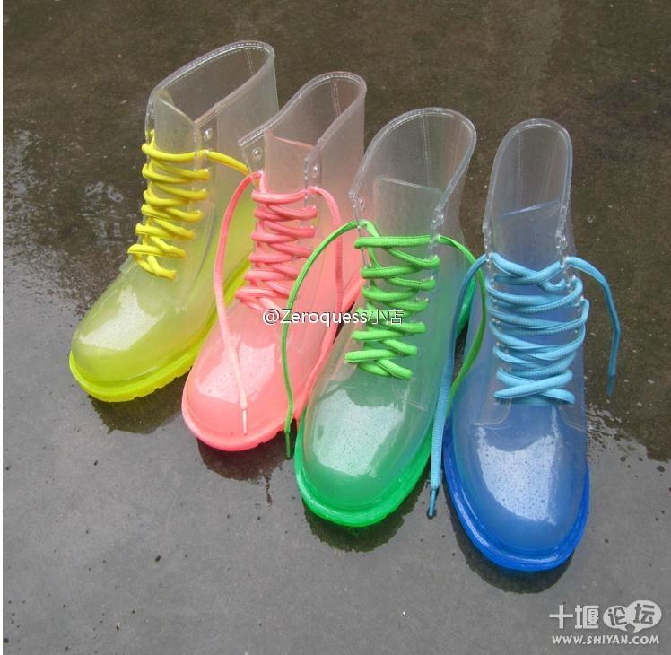 马丁/奇葩~水晶厚底马丁靴雨鞋你见过么