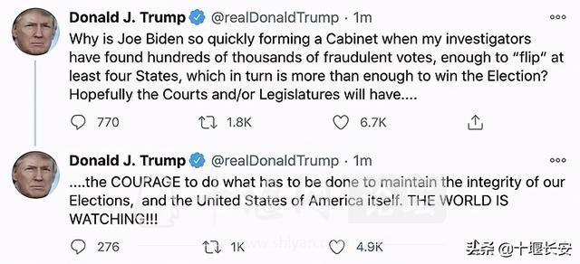 特朗普称发现数十万张欺诈选票!推特:美总统账号将自动转给拜登-1.jpg