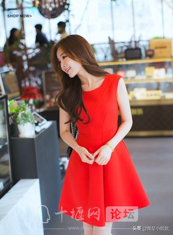 分享时尚,脸颊漂亮,身穿红色裙子的小姐姐,真的太漂亮了-3.jpg