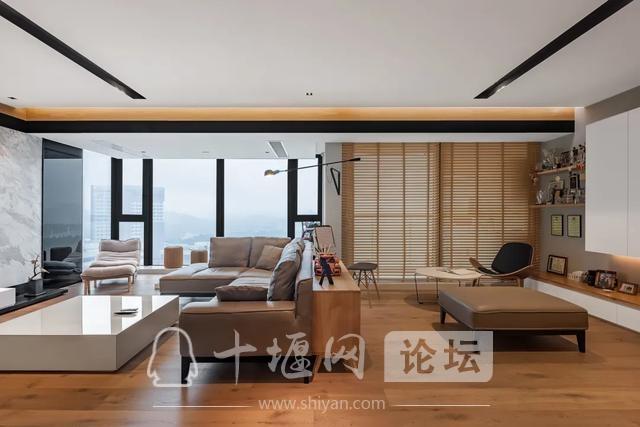 十堰装修180㎡现代简约,有温度的木色,满屋温馨气息-6.jpg